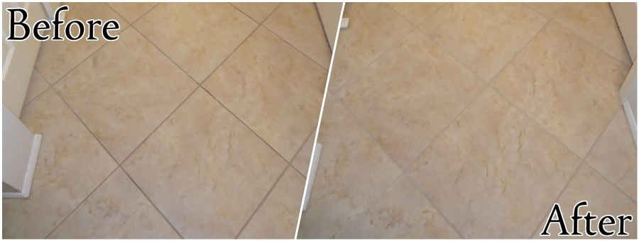 Ceramic Tile Restoration - Cleaning and Recoloring Grout
