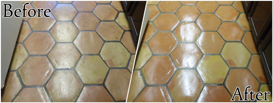 Saltillo Tile Restoration - Stripping, Cleaning, and Sealing (Indoor)