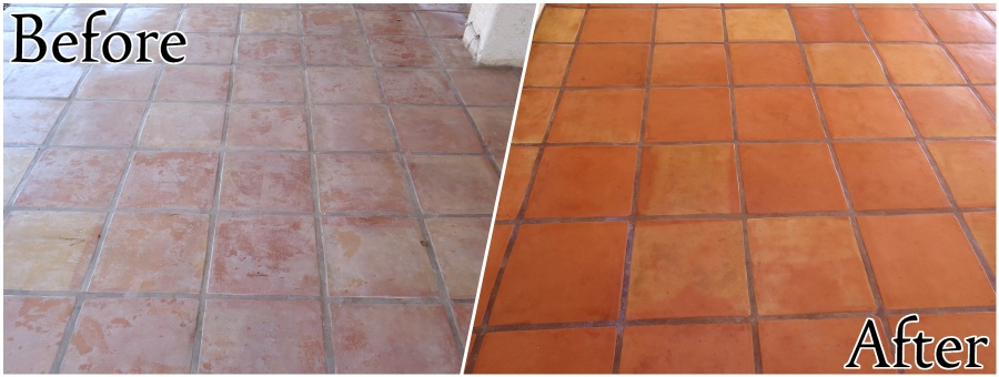 Saltillo Tile Restoration - Stripping, Cleaning, and Sealing (Outdoor)